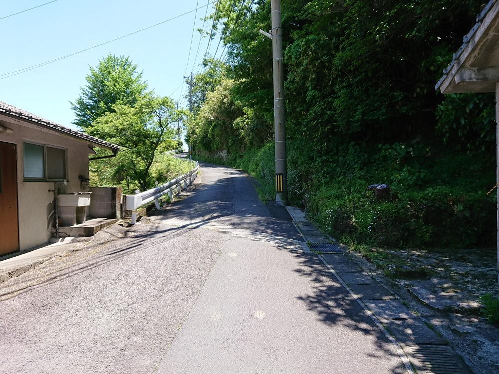 堀田温泉の断層に沿っている道路