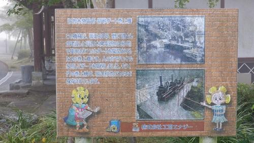 曾木の滝の水門ゲートの説明看板