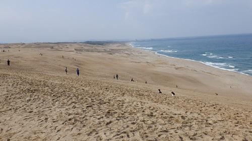 鳥取砂丘の先に広がる日本海