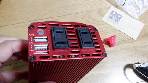 車載インバーターの100V家電背接続部分
