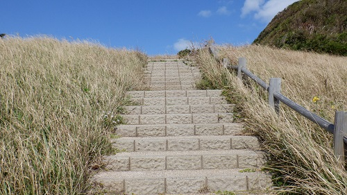 大バエ灯台遊歩道の入口階段