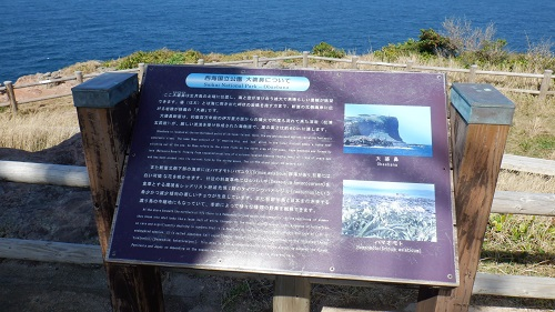 大バエ灯台周辺の崖の名前の説明看板