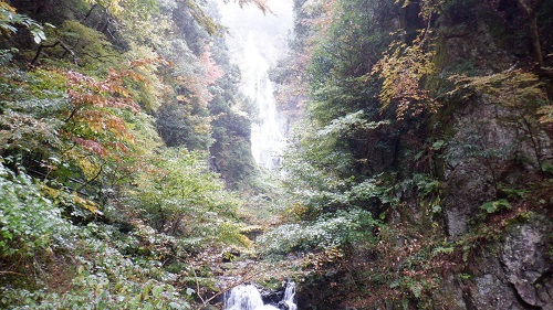神庭の滝と周辺の木々の光景