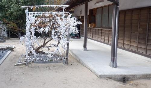 白兎神社敷地内のおみくじを結び付ける場所