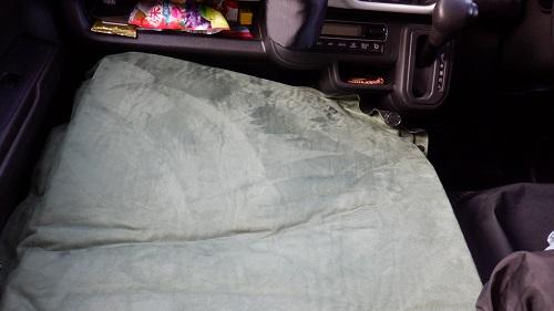 車中泊マットの車内位置調整
