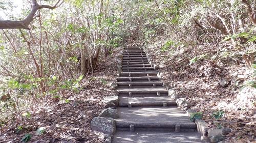 細島灯台へ続く階段状の遊歩道