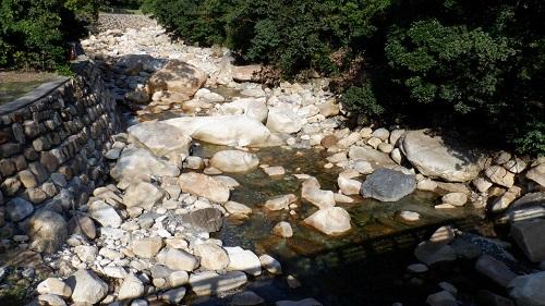 猿ヶ城温泉の横を流れる川