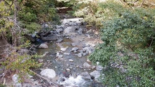 白滝公園の横を流れる川の光景