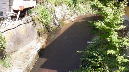 筋湯温泉敷地内の川