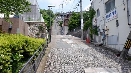 日和山公園への坂道と階段